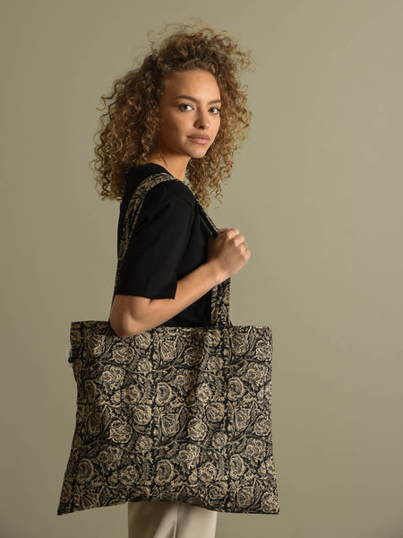 Madam Stoltz Printed Tote Bag Black
