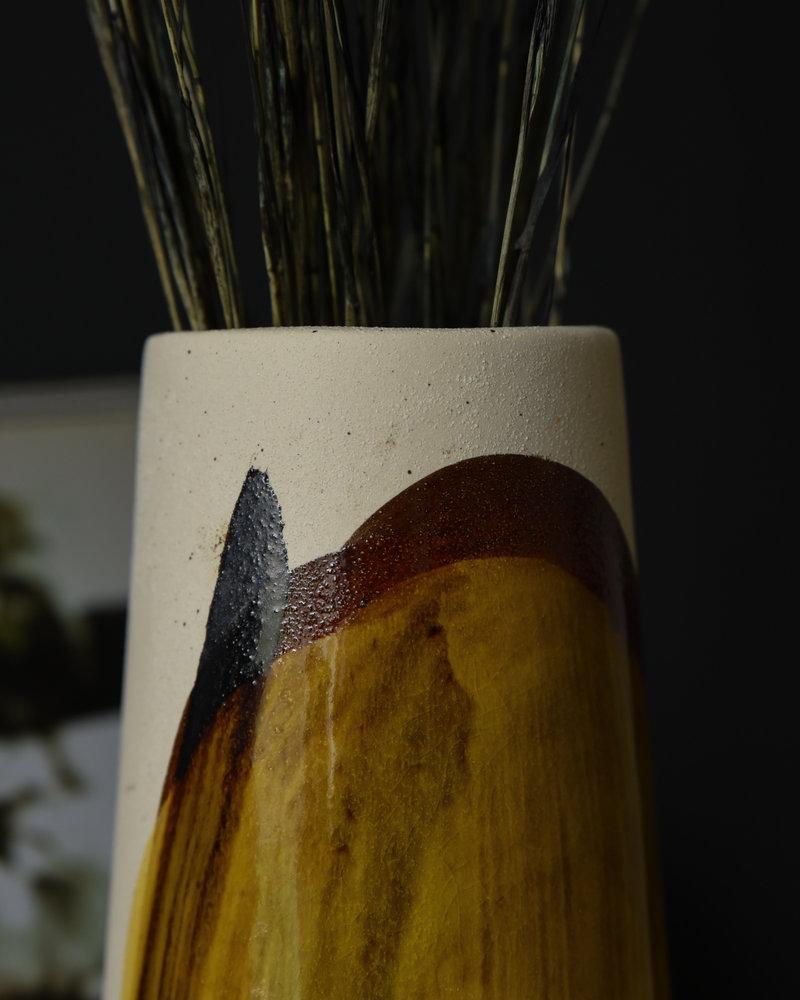 Vase Fine Earthenware Yellow Big