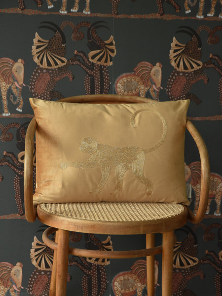 Cushion Velvet Yellow Monkey