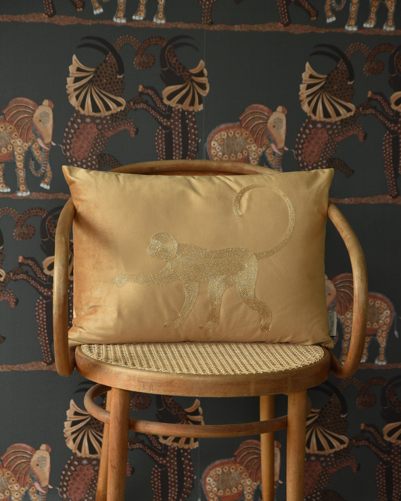 Cushion Velvet Yellow Monkey