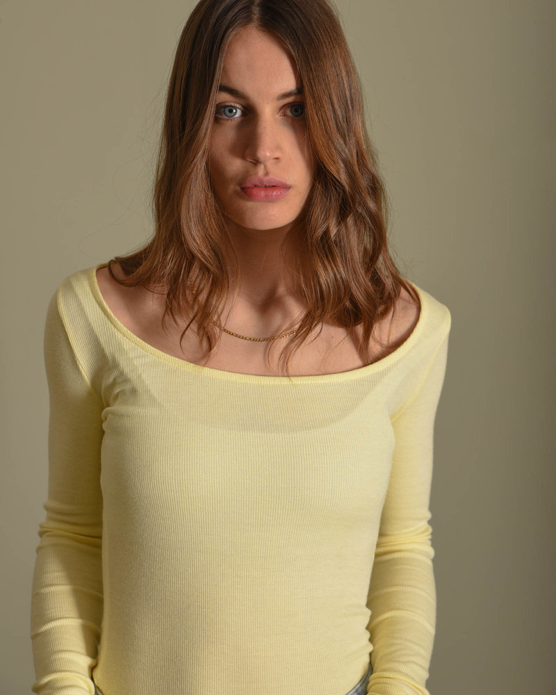 Deep Round Neck Ribbed Top Yellow