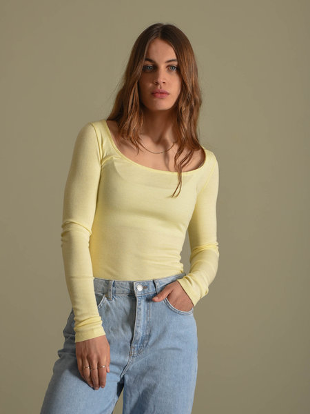 NAKD Deep Round Neck Ribbed Top Yellow