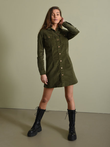 Noisy May NMLisa Corduroy Button Dress Kalamata