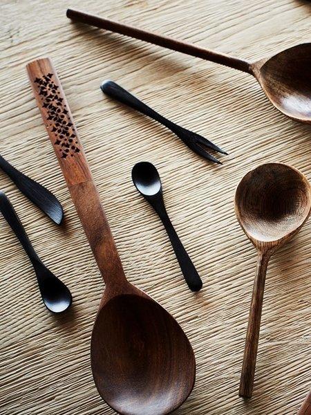 Madam Stoltz Bamboo Fork Black (SET OF 4)