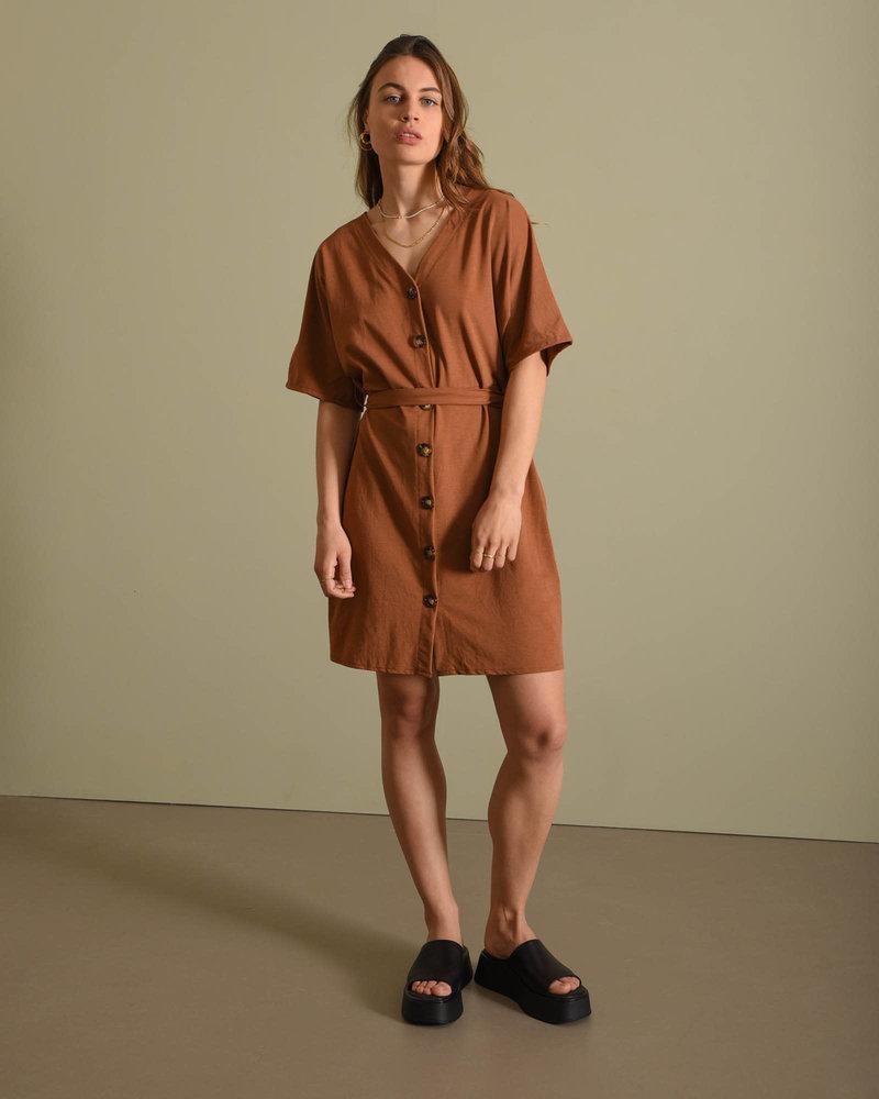 TILTIL Lola Button Dress Brown