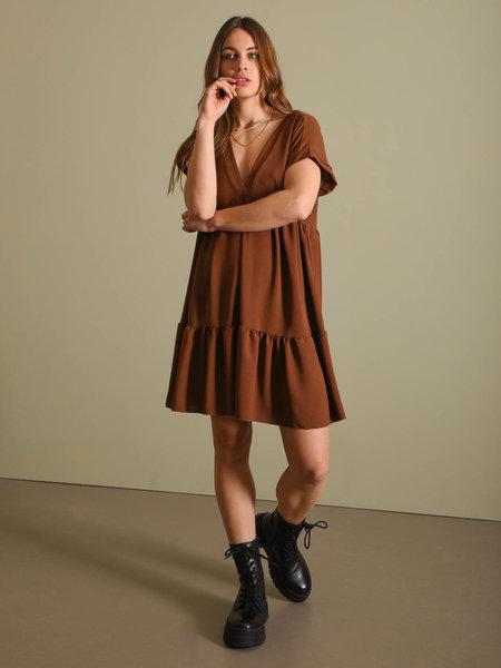 Things I Like Things I Love TILTIL Nicky V-neck Dress Brown