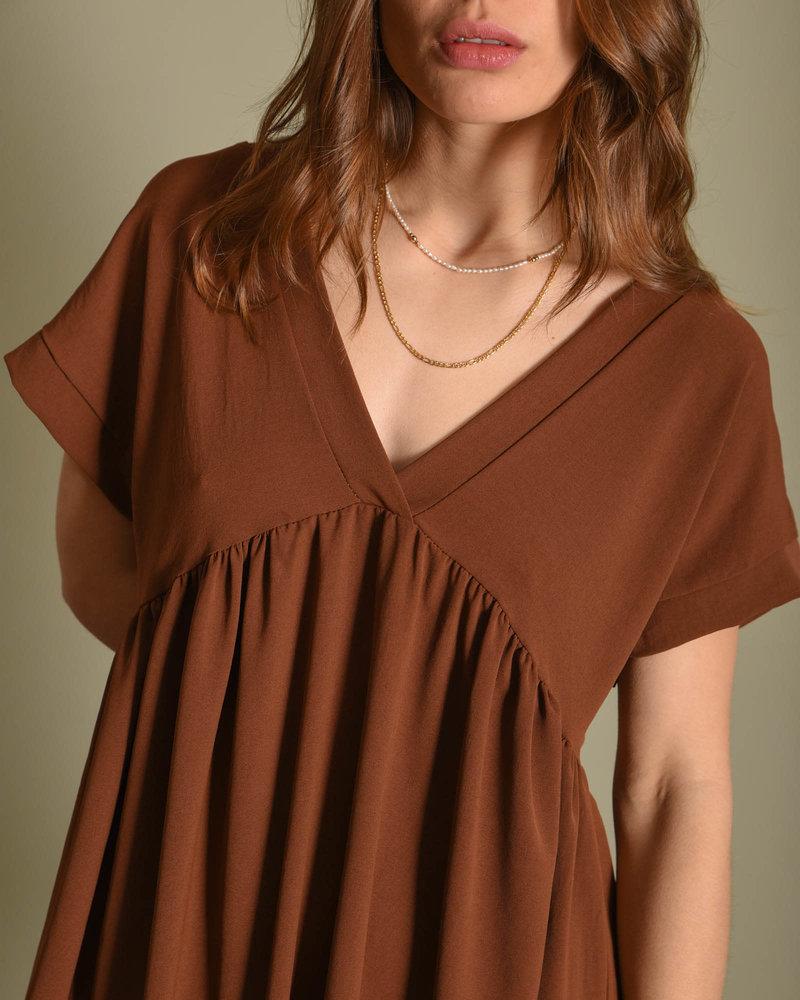 TILTIL Nicky V-neck Dress Brown