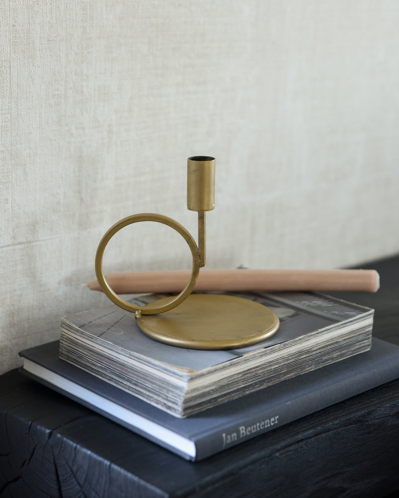 Candle Holder Gold Round Small