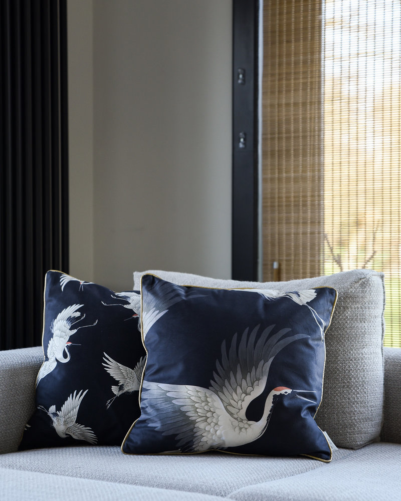 Cushion Crane Velvet Black