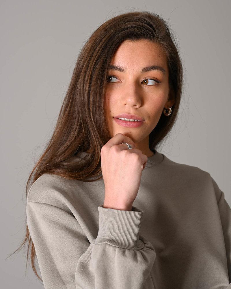 Volume Sleeve Cropped Sweatshirt Grey