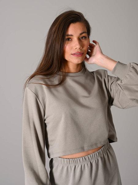 NAKD Volume Sleeve Cropped Sweatshirt Grey
