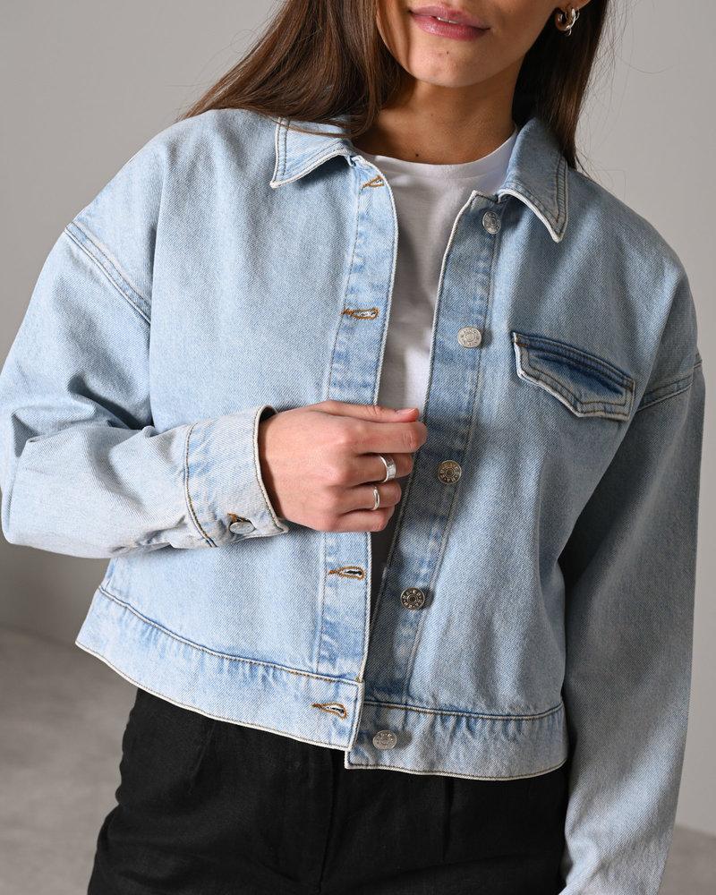Cropped Denim Jacket Light Blue