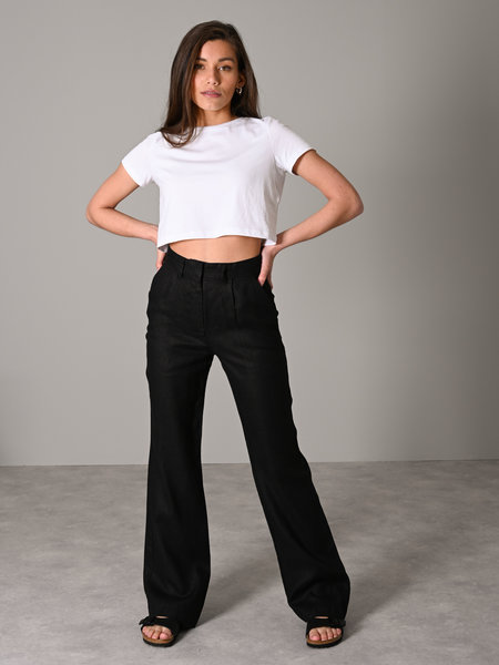 NAKD Flared Linen Pants Black