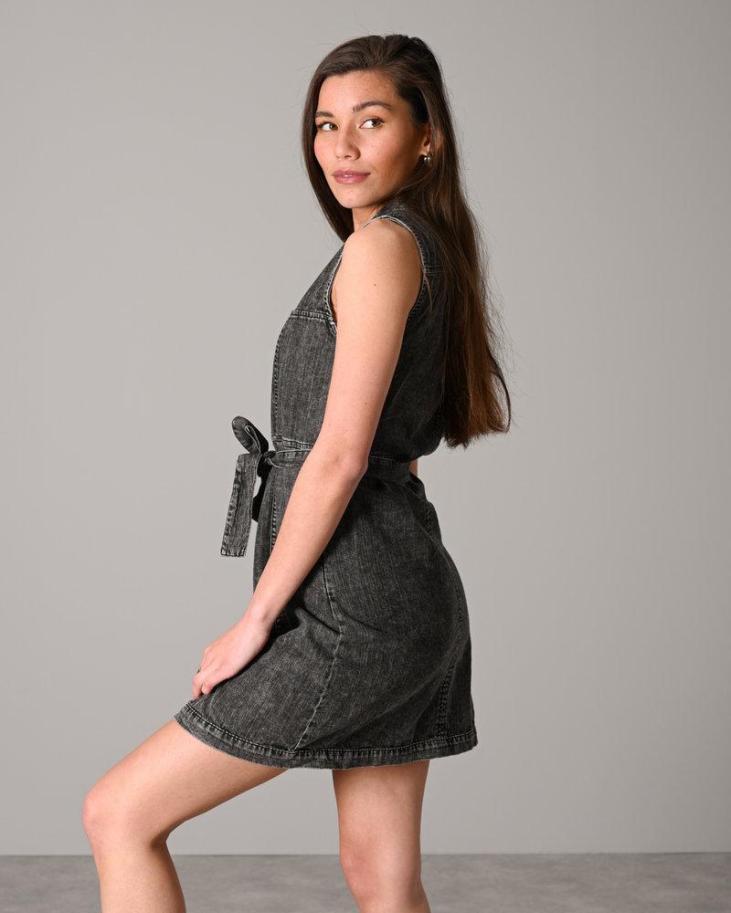 Verita S/S V neck Dnm Dress Black