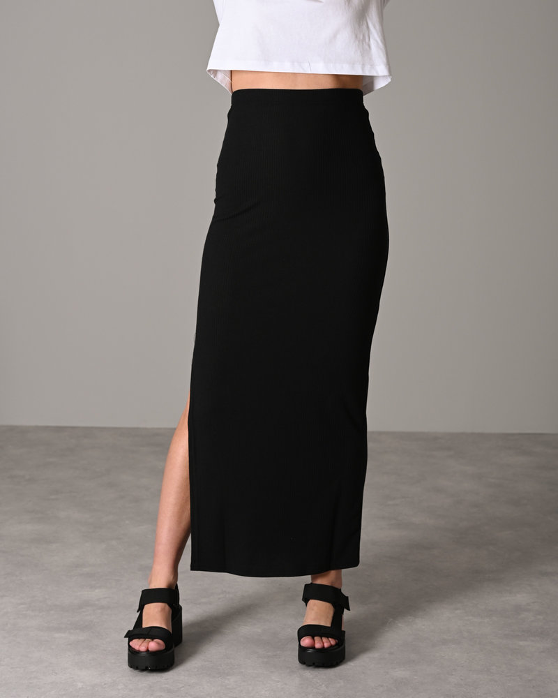 Mox Long Slit Skirt Black