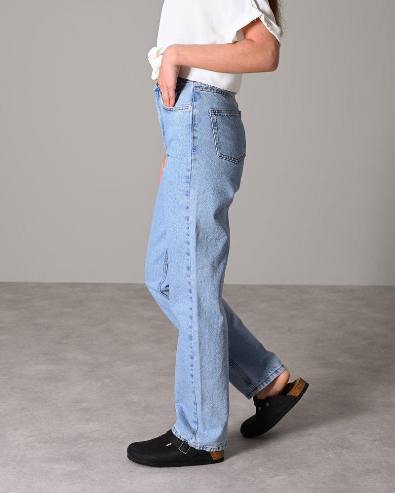 Contrast Pocket High Waist Denim Light Blue