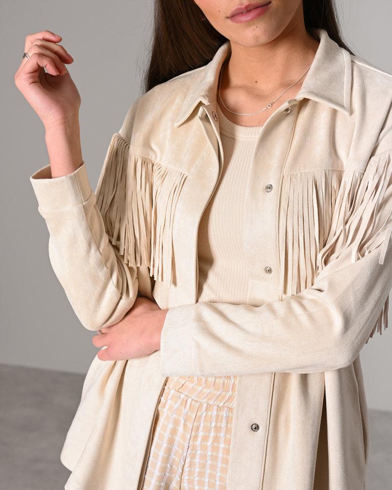 Stefanie Fringe Jacket Light Beige