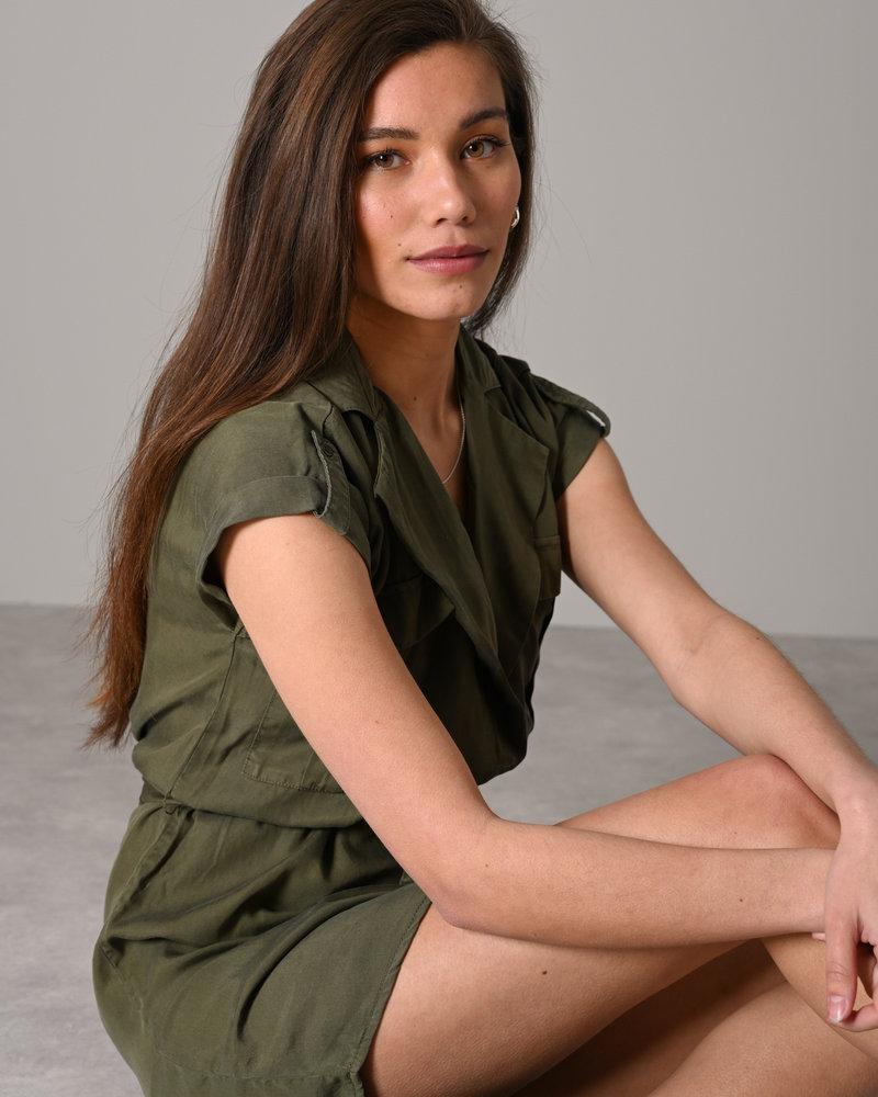 Vera Tencel Shirt Dress  Olive Night