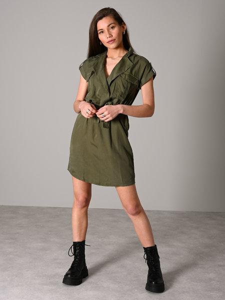 Noisy May Vera Tencel Shirt Dress  Olive Night