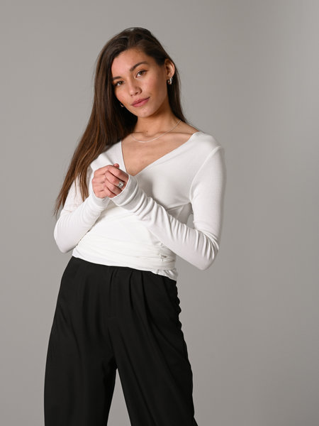 Things I Like Things I Love TILTIL Willy Wrap Top White