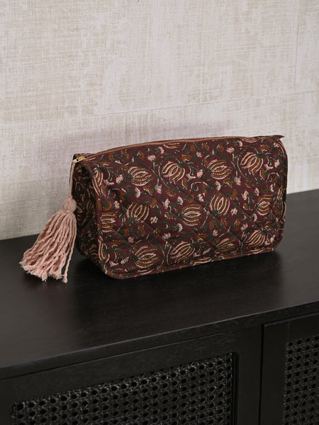 Madam Stoltz Printed Toilet Bag Ruby Wine