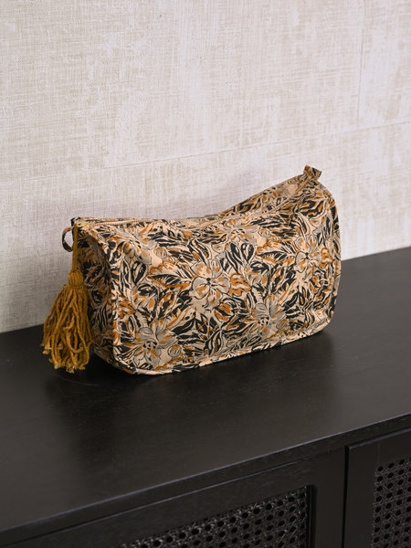 Madam Stoltz Printed Toilet Bag Mustard