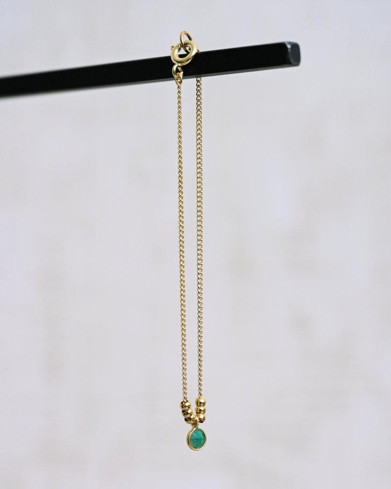 Bracelet Mini Dot Green Gold Beads