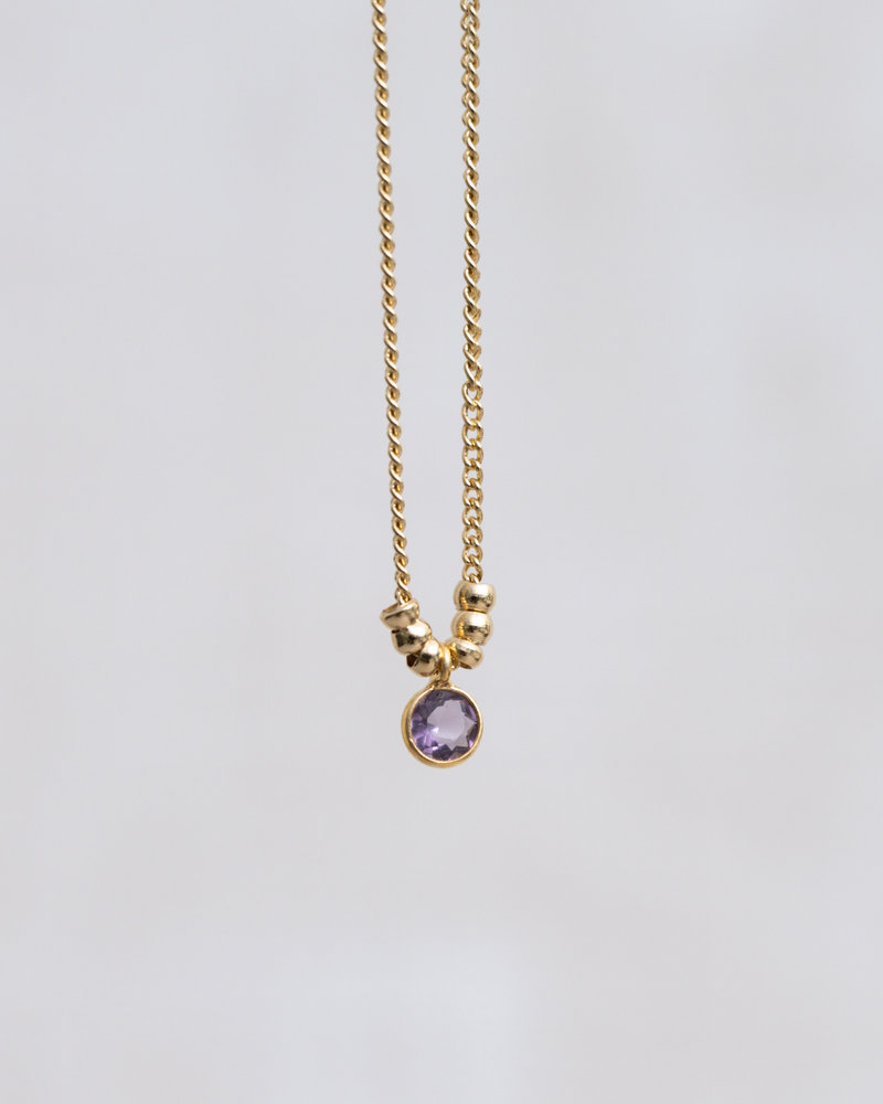 Bracelet Mini Dot Purple Gold Beads