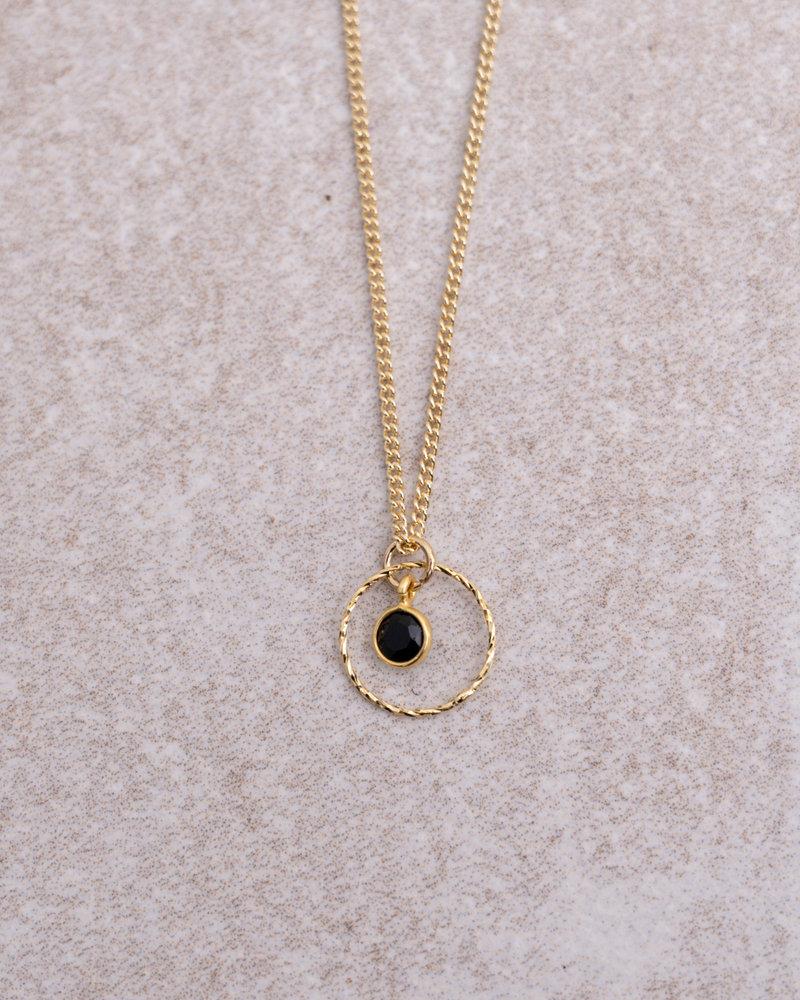 Gold Necklace Mini Dot Circle Black Quartz