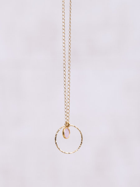 Ess Yello Gold Necklace Mini Dot Circle Rose Quartz