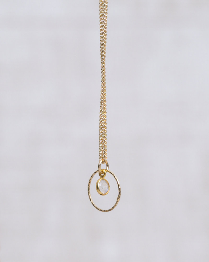 Gold Necklace Mini Dot Circle White Quartz