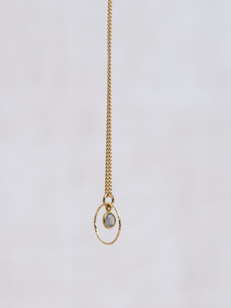 Ess Yello Gold Necklace Mini Dot Grey Circle