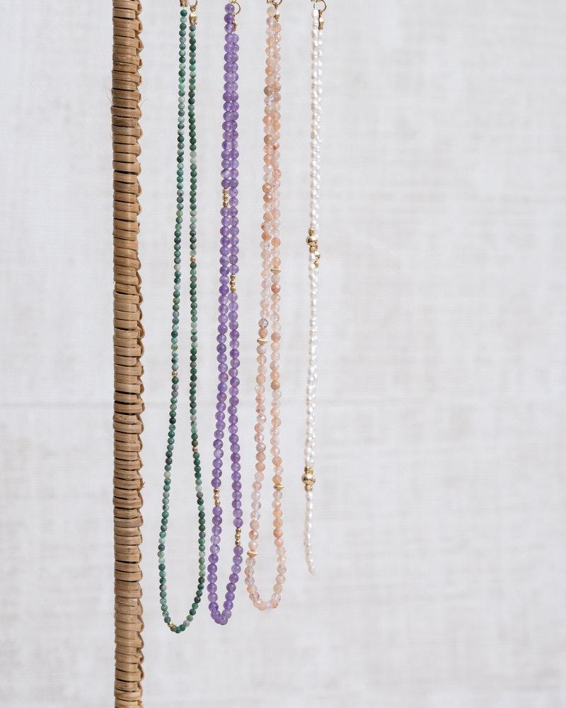 Gemstone Necklace Lucky Jade Gold