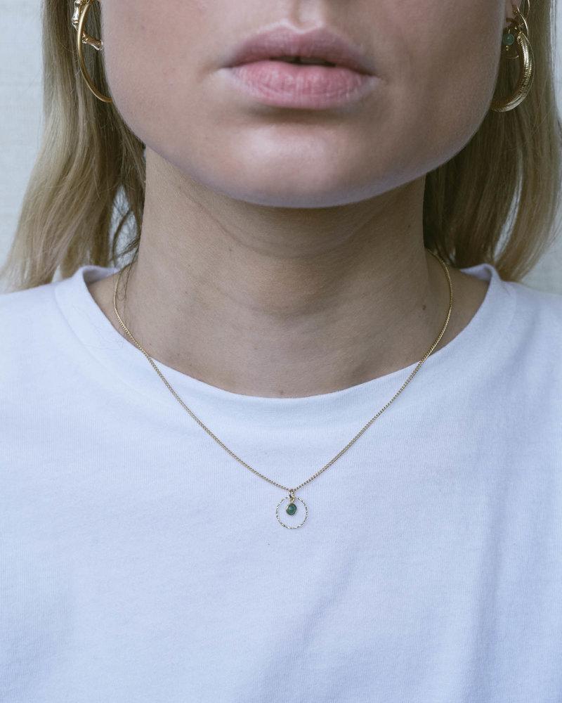 Gold Necklace Mini Dot Circle Green Agate