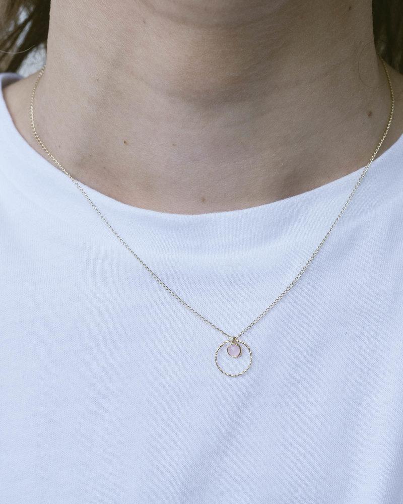 Gold Necklace Mini Dot Circle Rose Quartz