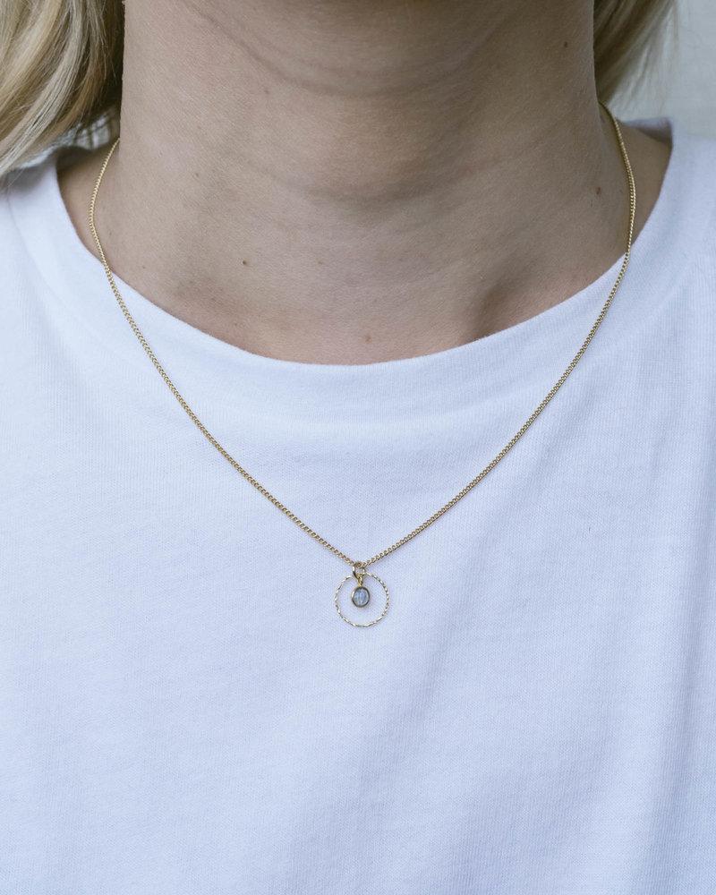 Gold Necklace Mini Dot Grey Circle