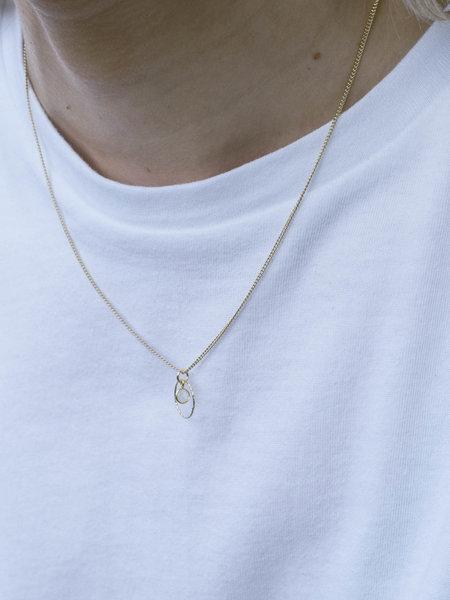 Ess Yello Gold Necklace Mini Dot Circle White Quartz
