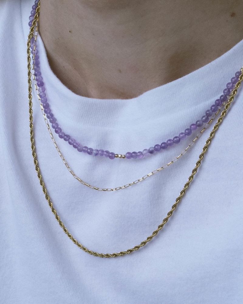 Gemstone Necklace Soothing Amethyst Gold