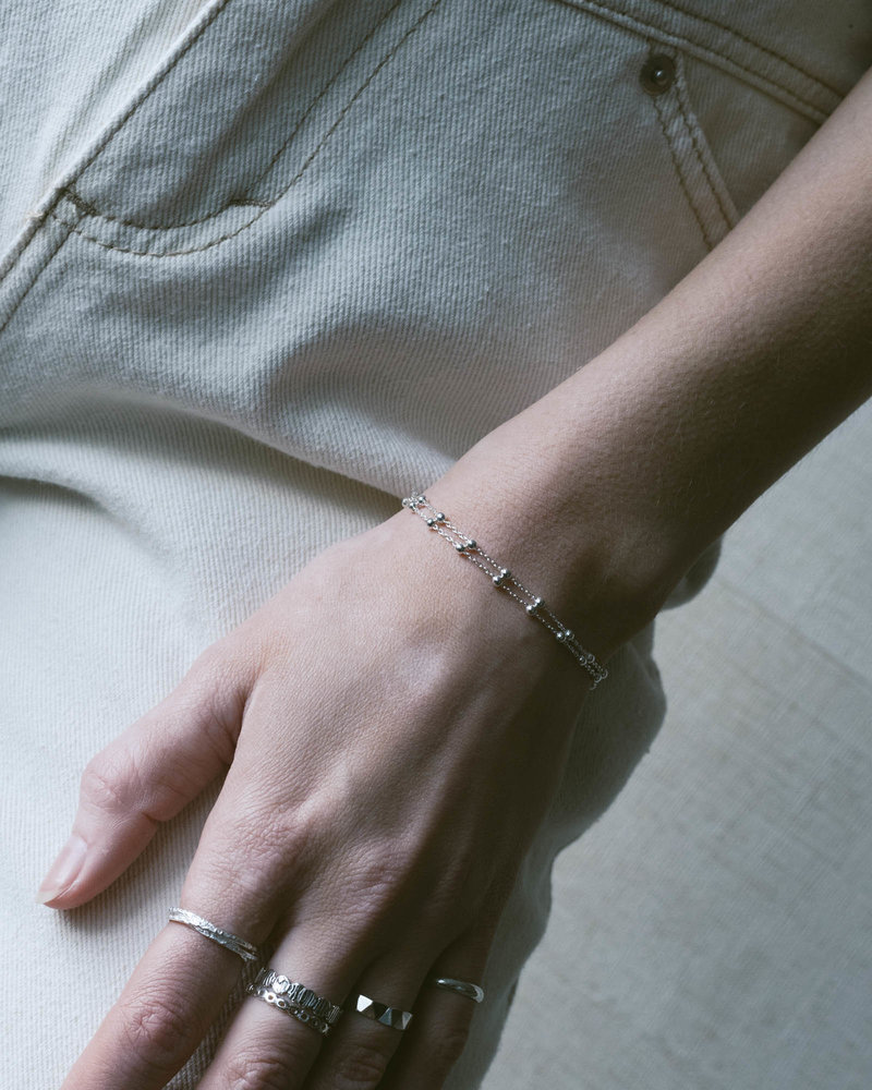 Double Dotted Silver Bracelet