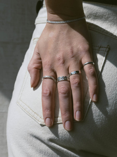 Things I Like Things I Love Thin Hammered Ring Silver