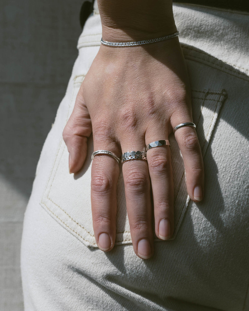 Thin Hammered Ring Silver