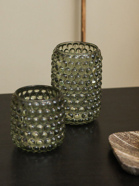 Tealight Glass Palet Grey Green