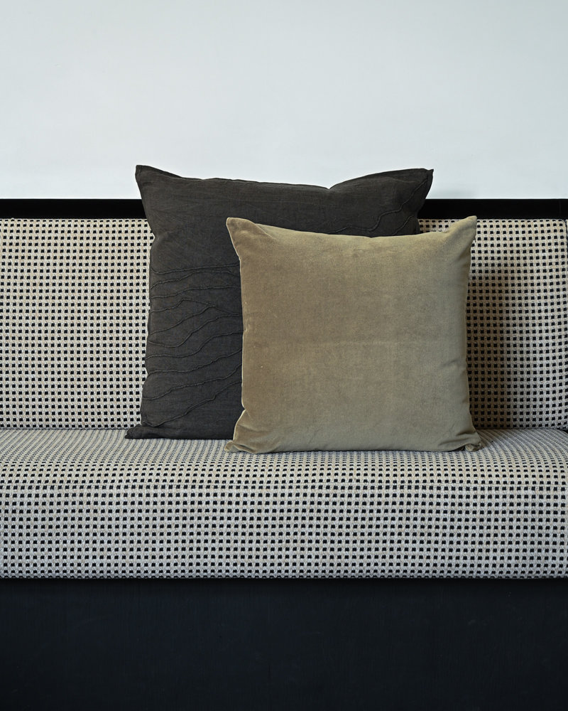 Cushion Khios Velvet Green/Brown