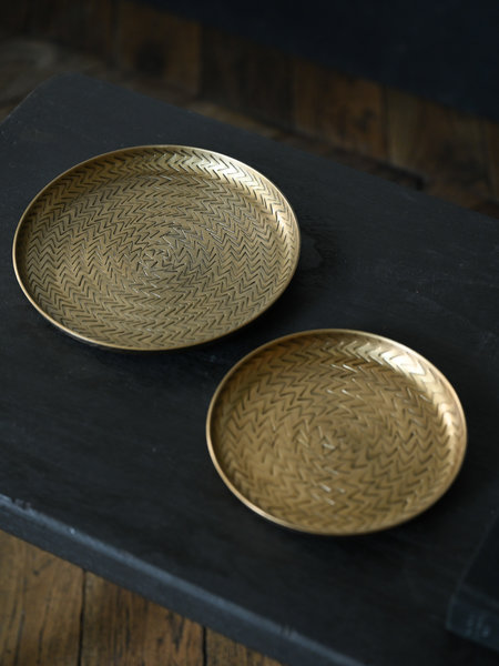 House Doctor Tray Rattan Brass