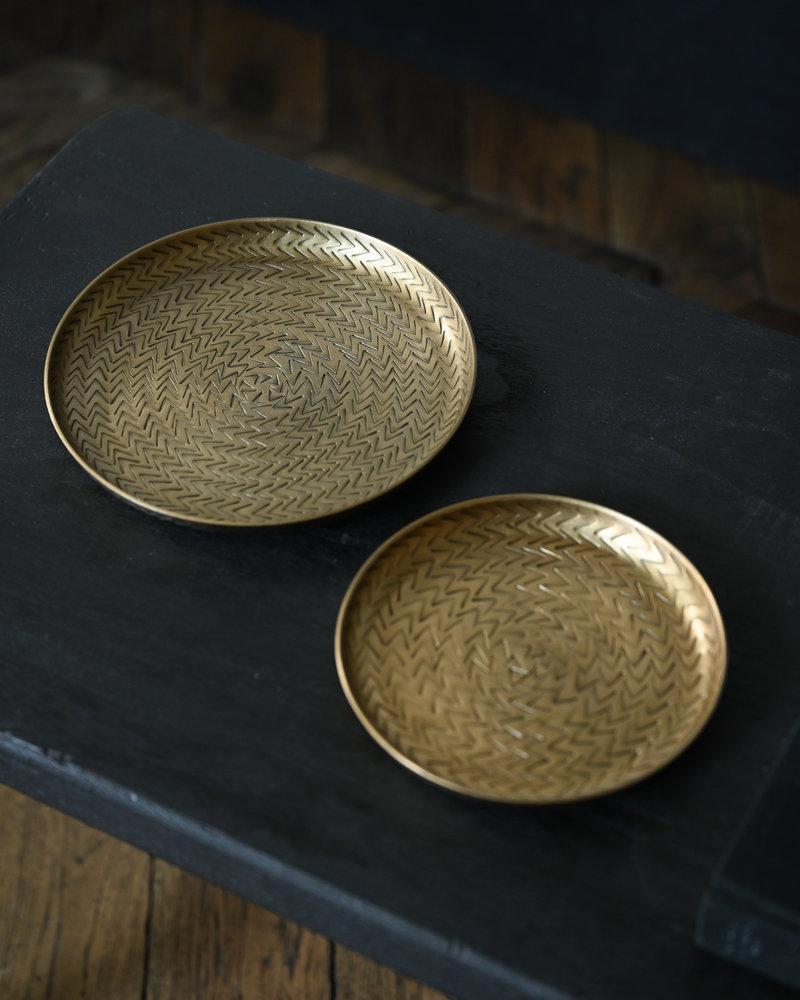 Tray Rattan Brass