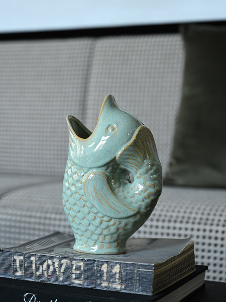 Madam Stoltz Vase Stoneware Fish Light Green