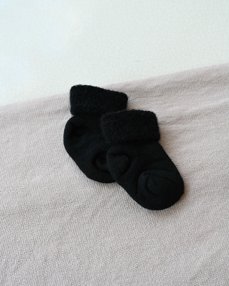 Baby Socks Terry Wool Black