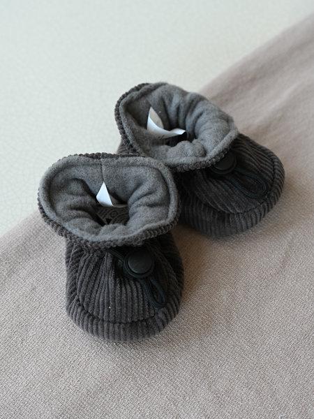 Melton Baby Corduroy Booties Dark Grey