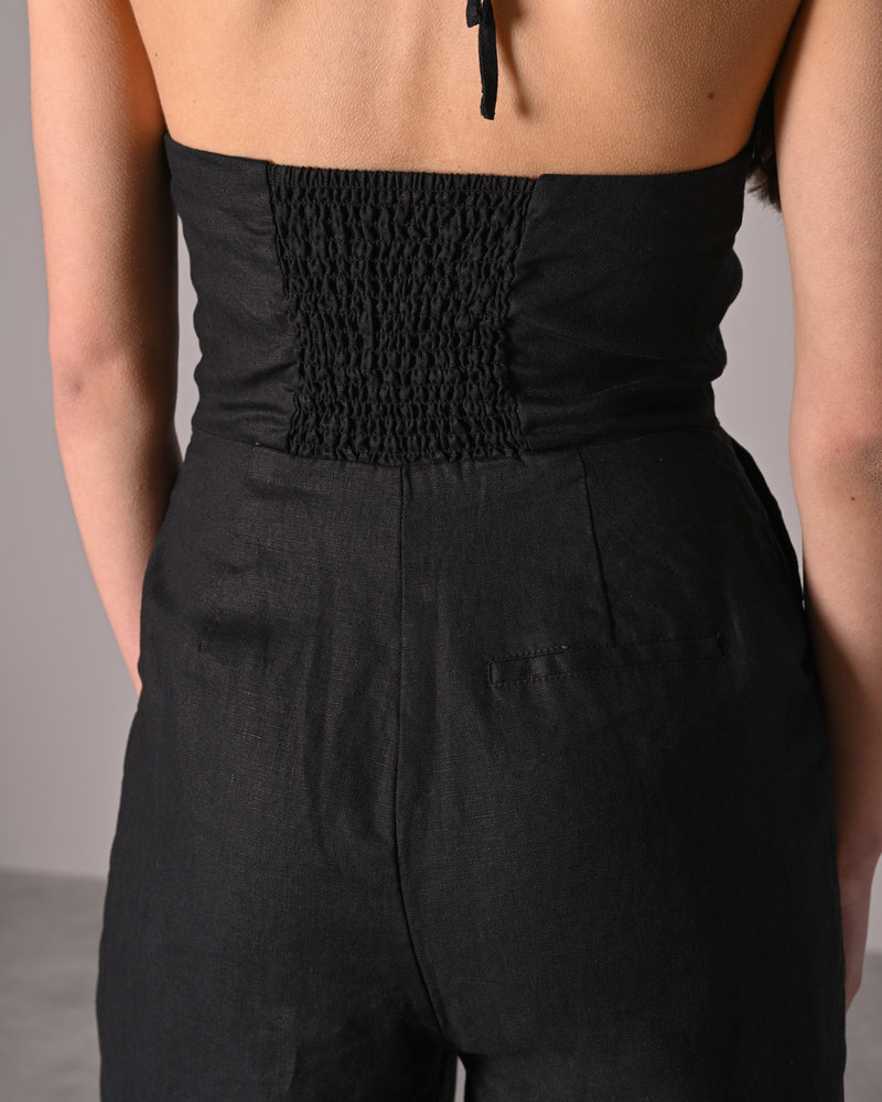 Halterneck Linen Jumpsuit Black