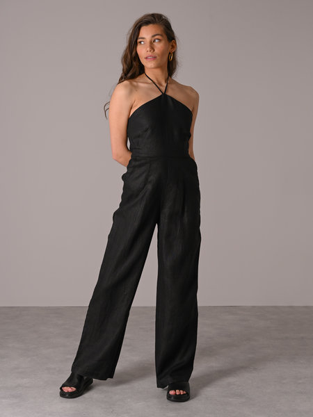 NAKD Halterneck Linen Jumpsuit Black